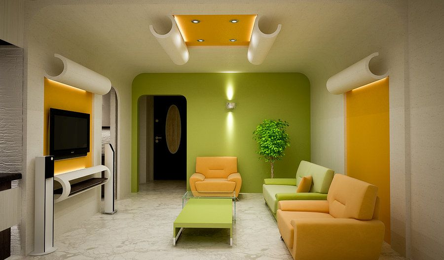 living room modern fresh living room with lemon and orange color - Orange Living Room Design