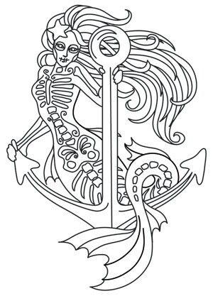 Muerte Mermaid Coloring Pages Doodles Etc Eule Malen