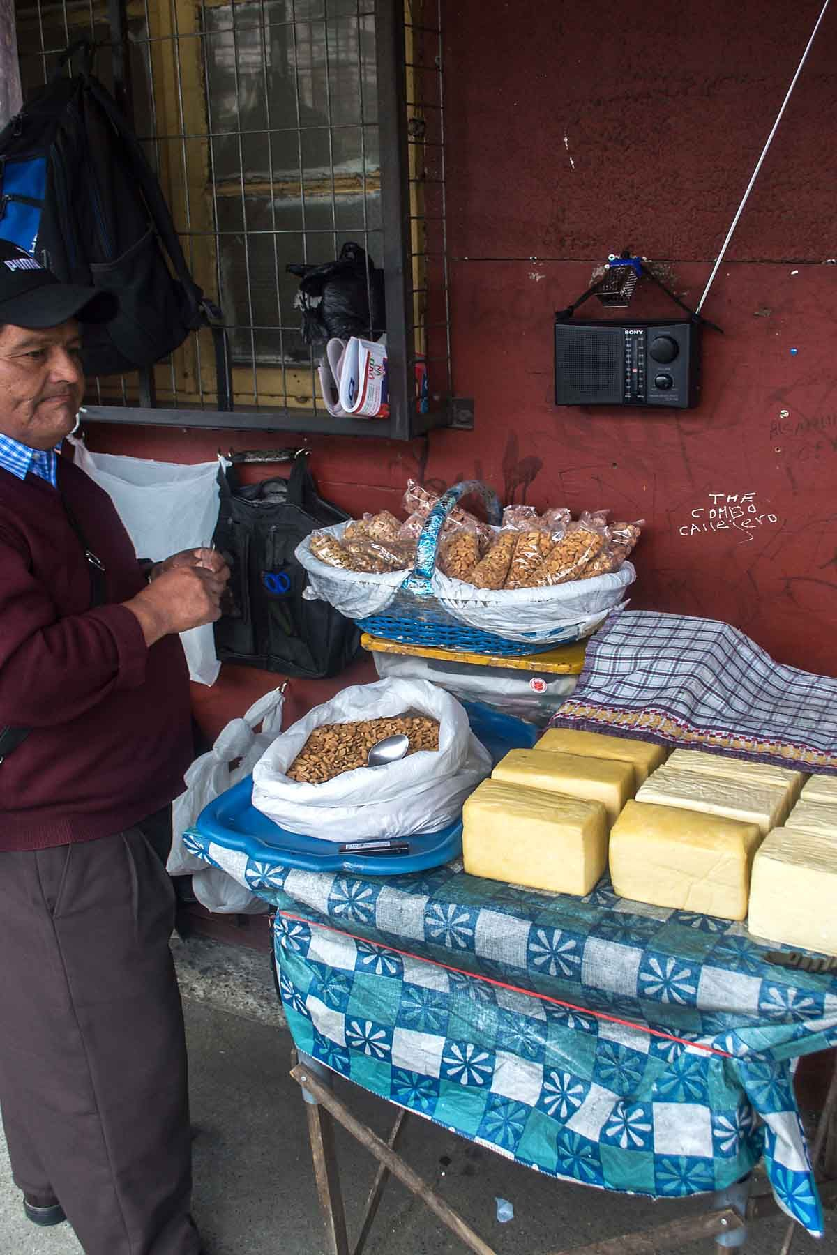 Cheese and nuts available on the streets of Puerto Varas | heneedsfood.com