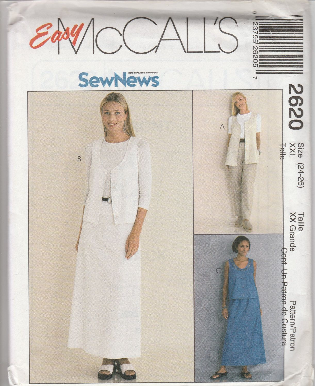 McCall's 2620 Size 12-14 or 24-26 Unlined Vest, Pull-On Pants and Skirt Sewing Pattern 2000 UnCut by LadybugsandScorpions on Etsy