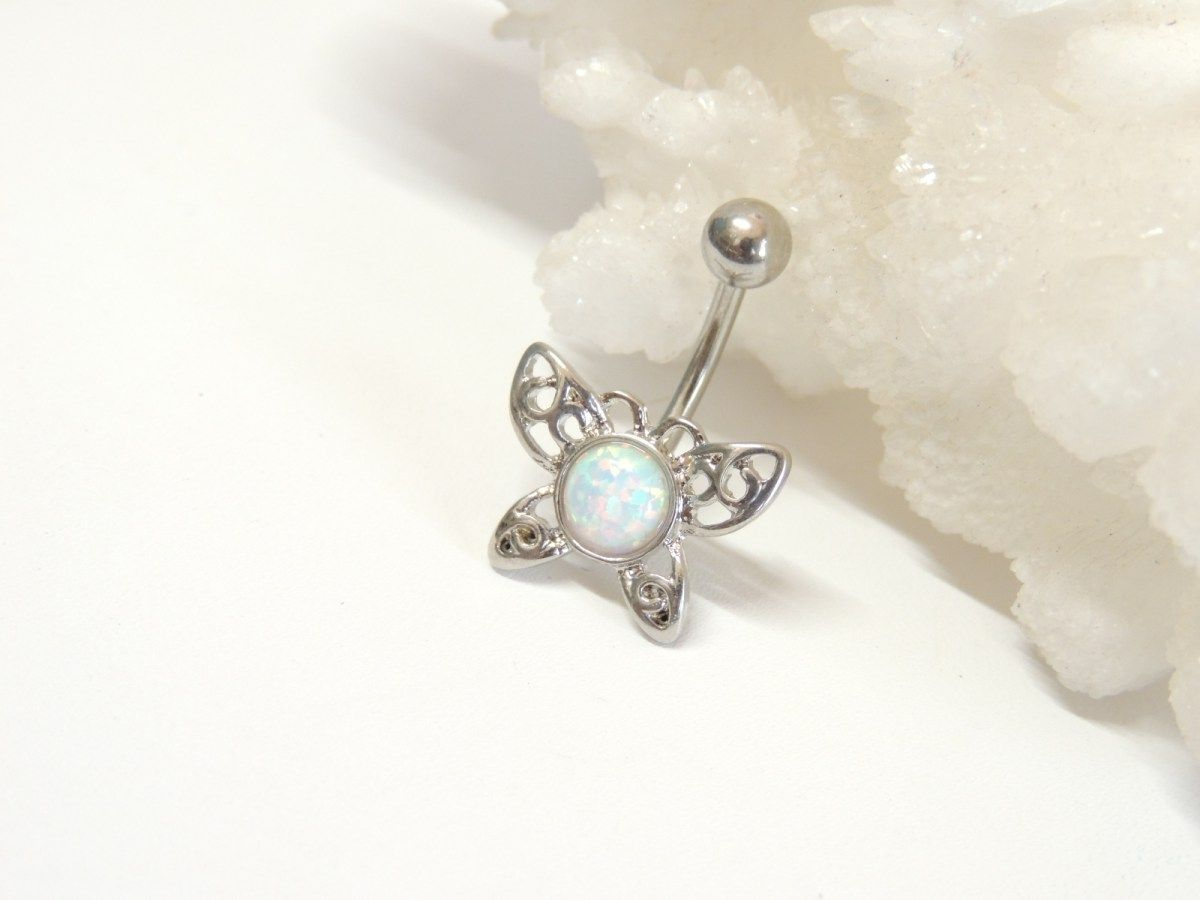 Belly button piercing without jewelry  WHITE OPAL BUTTERFLY BELLY BUTTON RING  Belly Button Rings  Navel