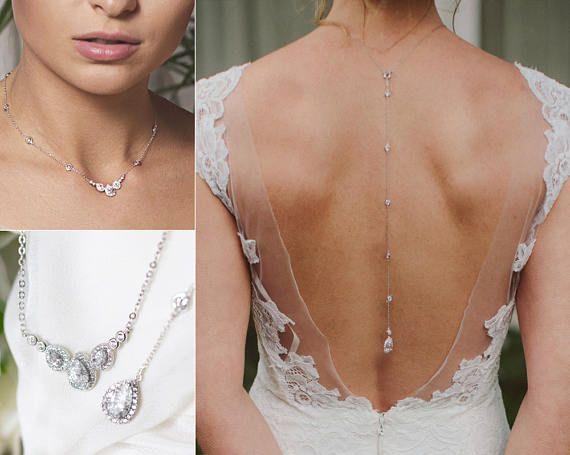 Backdrop Necklace Wedding Jewelry Back Necklace Body