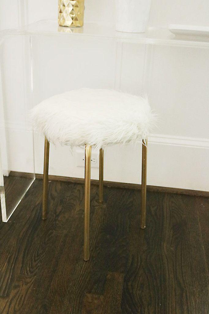 Diy Ikea Hack White Fur Stool Gold Legs