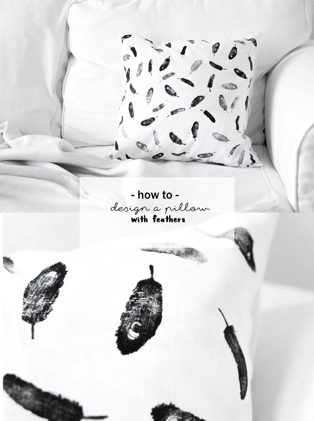 DIY Feder Kissen | Do It Yourself Idee Mit Textilfarbe | Upcycling | Kissenbezug  Gestalten Bedrucken | Stempeln Mit Feder Motiv | Wohnzimmer | Schlafzimmer  ...