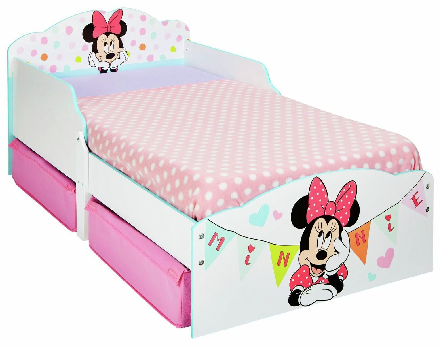 Minnie Mouse Toddler Bed With Drawers In 2020 Toddler Bed With
