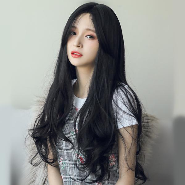 Black Big Wavy Long Roll Wig Yv42533 In 2020 Black Hair Korean Black Wavy Hair Black Hair Japanese