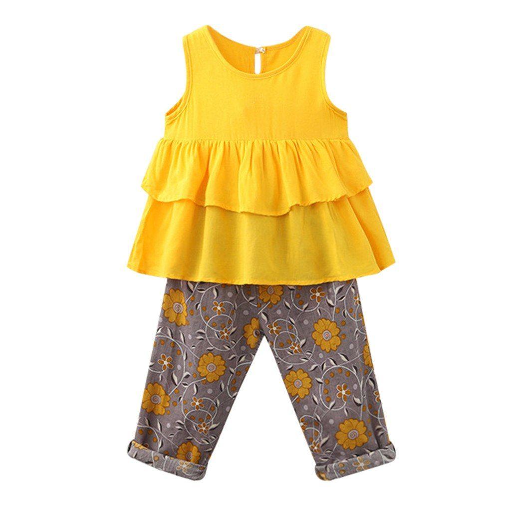 0663d3093d83 MUQGEW Toddler Kid Baby Girl Outfits Clothes Ruffles Vest T-Shirt ...