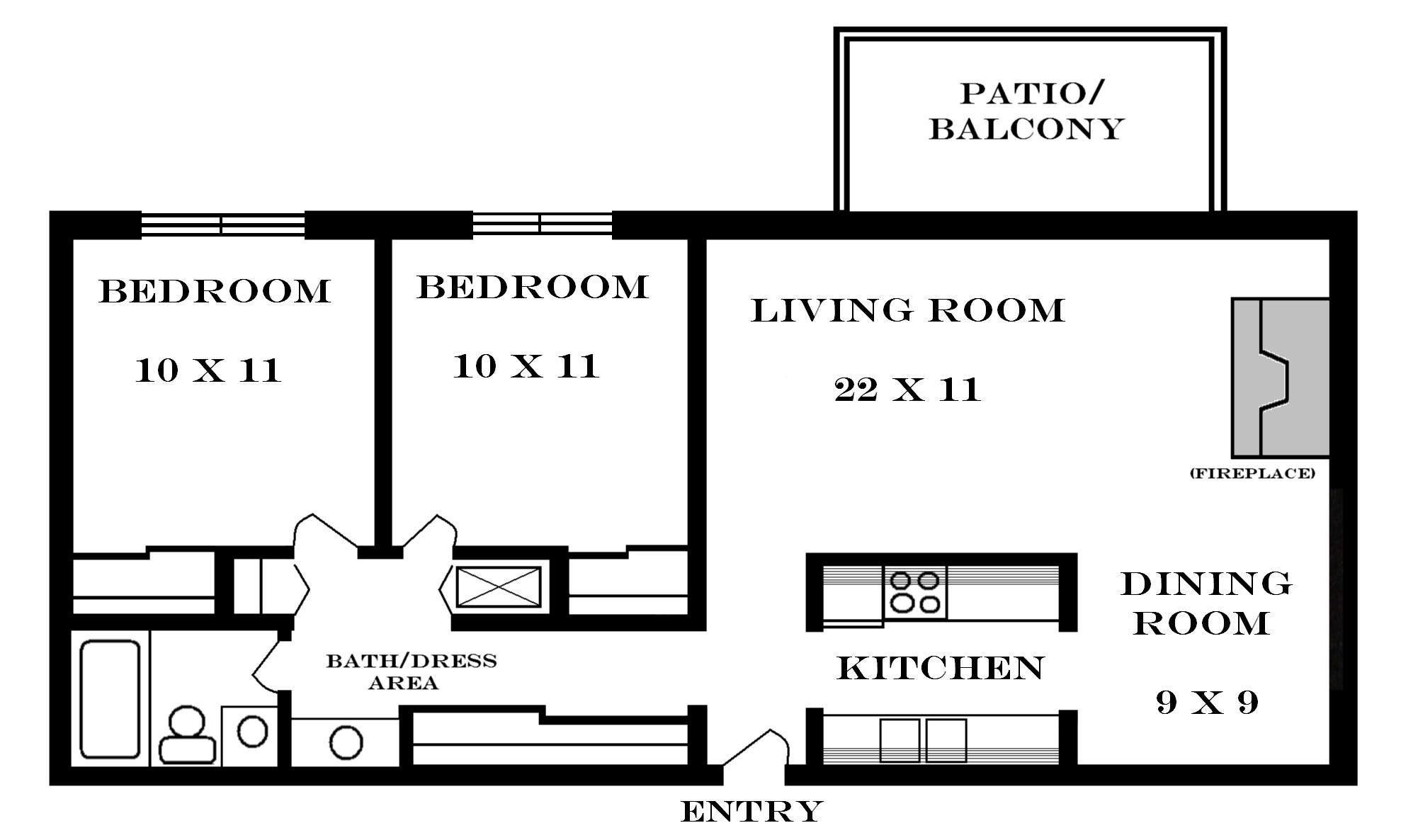 Small house floor plans 2 bedrooms 900 tiny houses for Three bedroom apartment layout