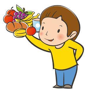 Ilustración De Un Niño Sosteniendo Frutas Verduras Pan Y Un Vaso De Agua Niños Sanos Niños Dibujos Para Niños