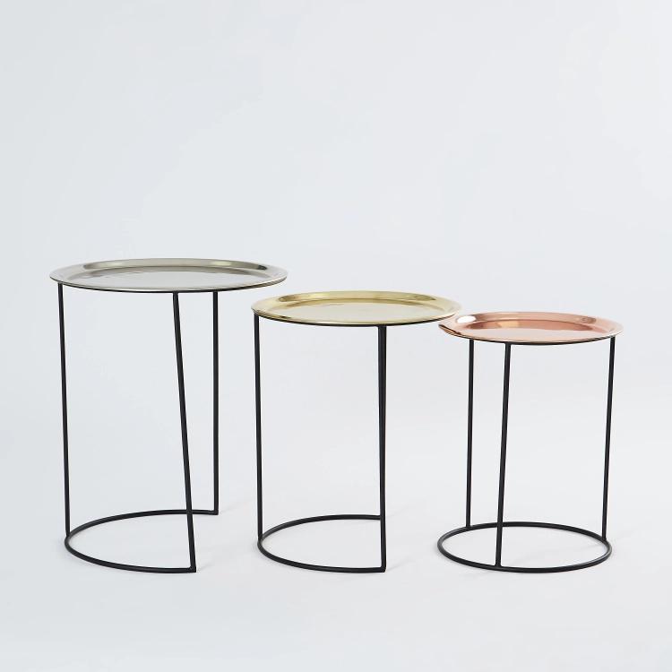 طقم طاولات متداخلة ميتاليك مزينة 3 قطع متعدد الألوان Coffee Table Side Table Table