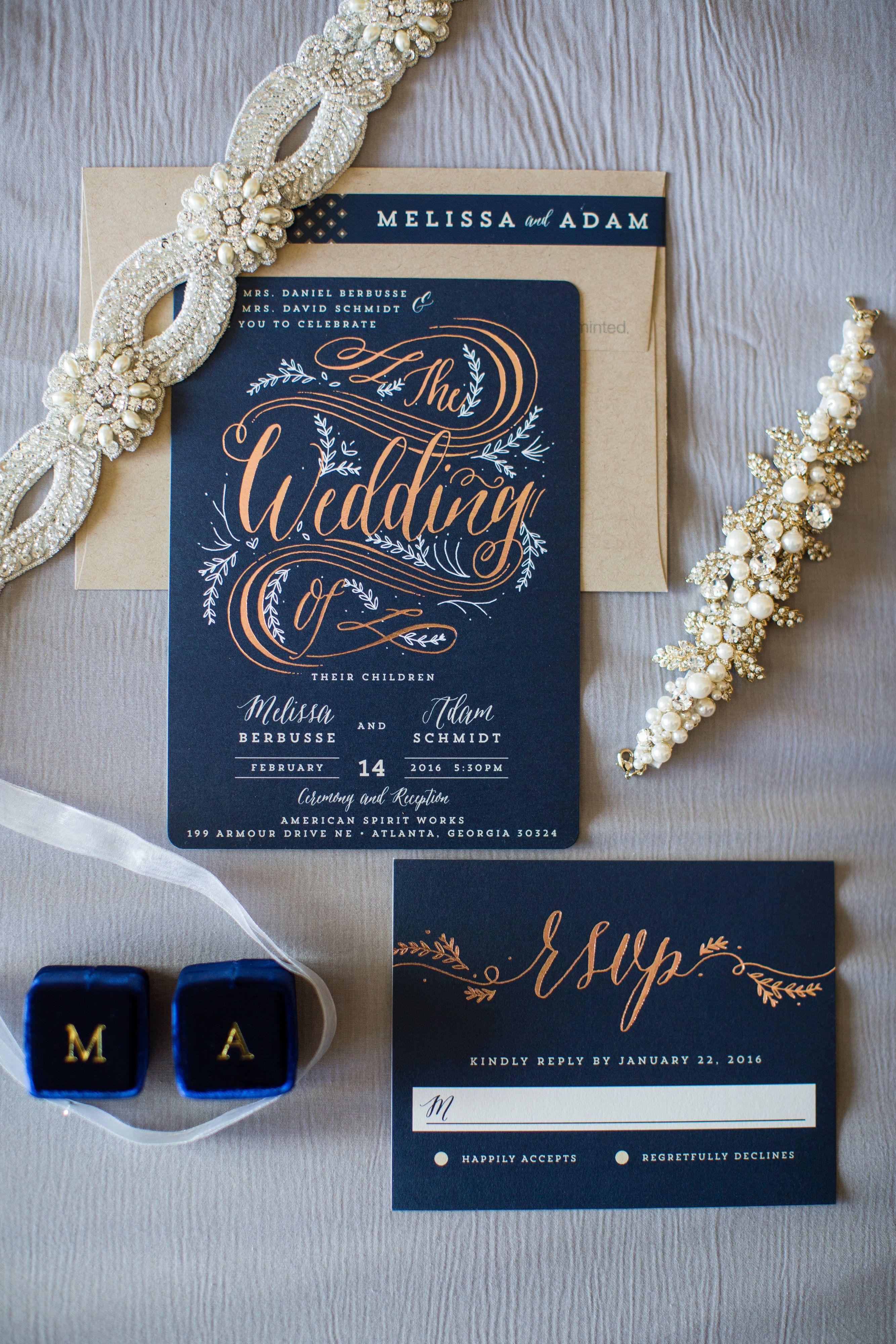 custom wedding invitation suite from mintedcom navy and gold winter wedding - Wedding Invitations Atlanta