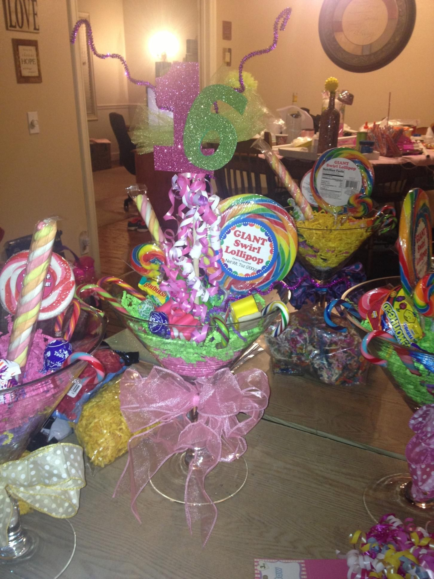Candy Centerpieces For Sweet : Martini glass centerpiece sweet candy land theme