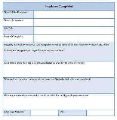 Ample Employee Complaint Template Available Online. Download It
