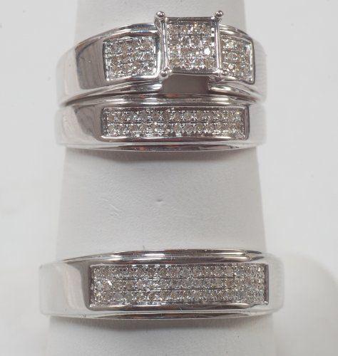 his hers engagment white gold diamond trio ring set bn 63900 10k white gold - Wedding Ring Trios