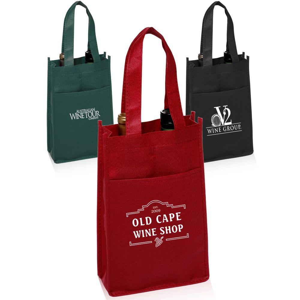 Personalized Non Woven Vineyard Two Bottle Wine Bags Tot116 Discountmugs Custom Wine Bags Wine Bag Custom Bottles