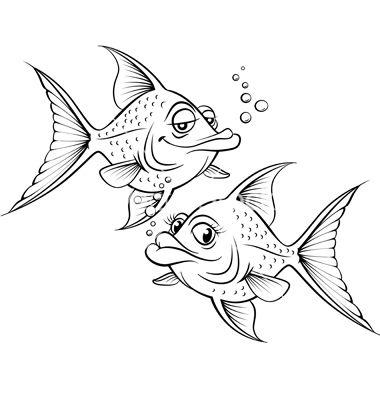 Two Drawing Cartoon Fish Vector Image On Fish Drawings Cartoon Fish Fish Illustration