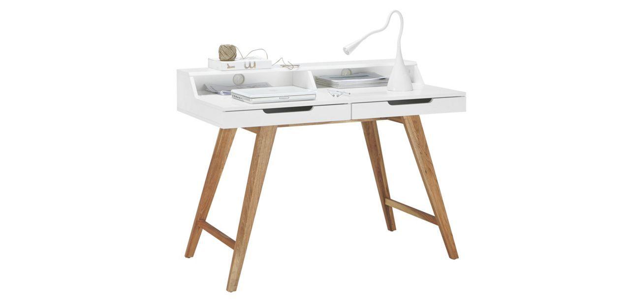 Schreibtisch In Weiss Braun Braun Weiss Modern Holz