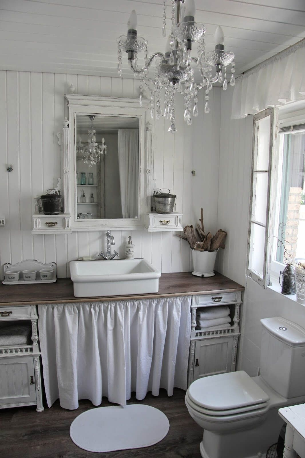 Photo of Shabby Chic Bathroom Design with Ruffle Details