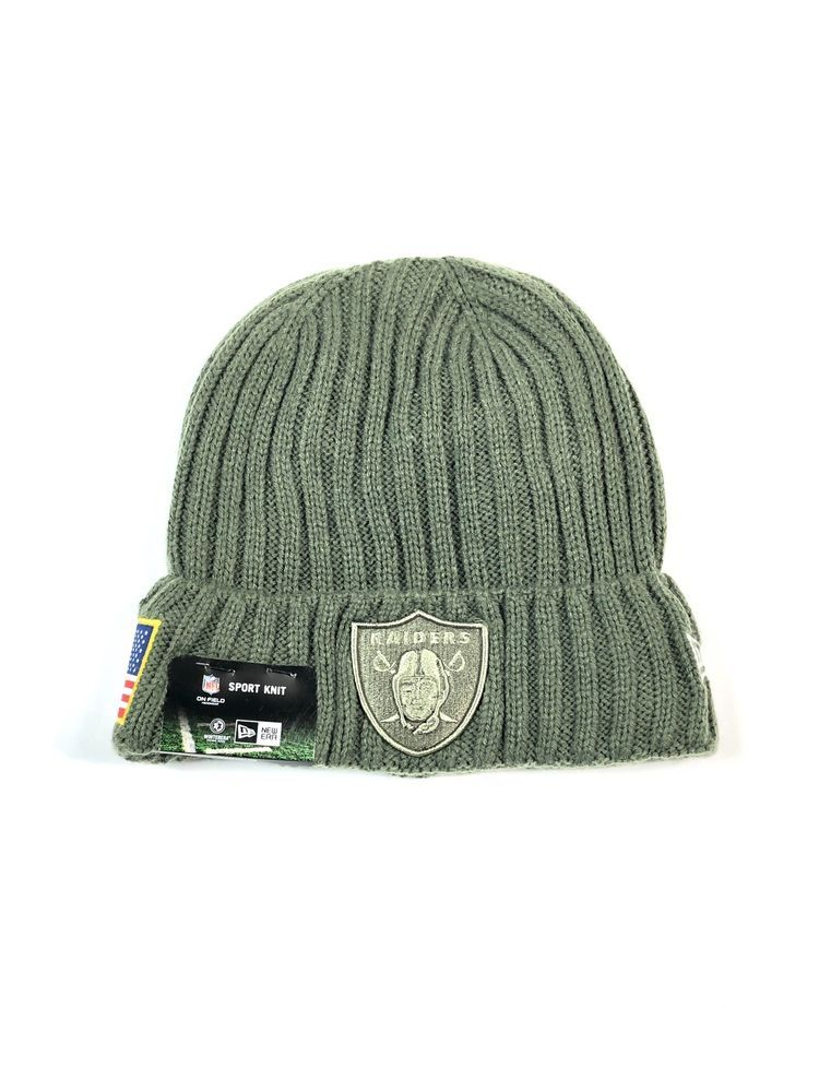 Oakland Raiders Beanie Hat Salute To Service Army Green New Era Cap NWT  32   6ace030fa87