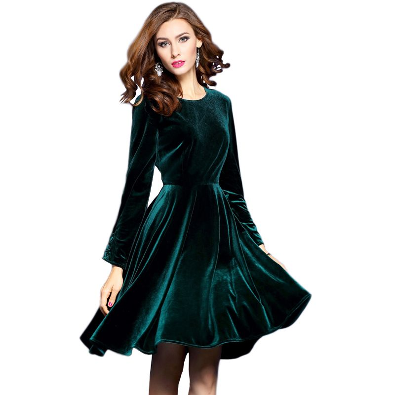 Elegant A Line Velvet Dark Green Evening Dress In 2019