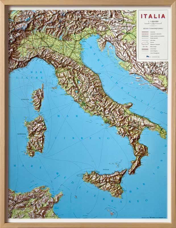 Italy Raised Relief Map Italy General Maps Lazio Pinterest