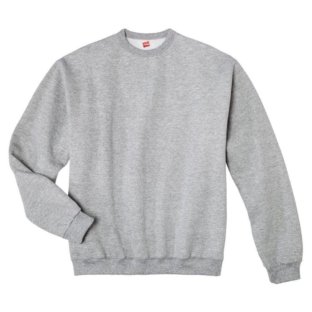 Hanes Premium Men's Fleece Crew-Neck Sweatshirt - Gray M, Gray ...