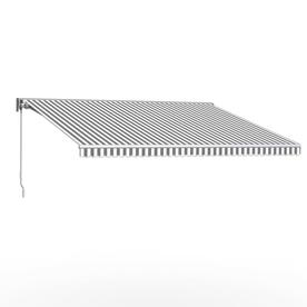 Awntech Destin 120 In Wide X 96 In Projection Striped Vertical Patio Left Motor Retractable Awning Dtl10 L Gw Steel Frame Retractable Awning Outdoor Fabric