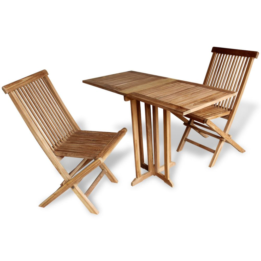 Teak Patio Set Garden Balcony 3 Piece Folding Table Chairs Terrace ...