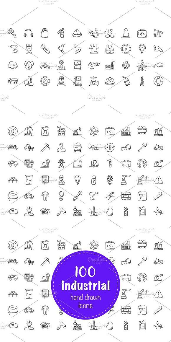 100 Industrial Doodle Icons Doodle icon, Doodles, Icon