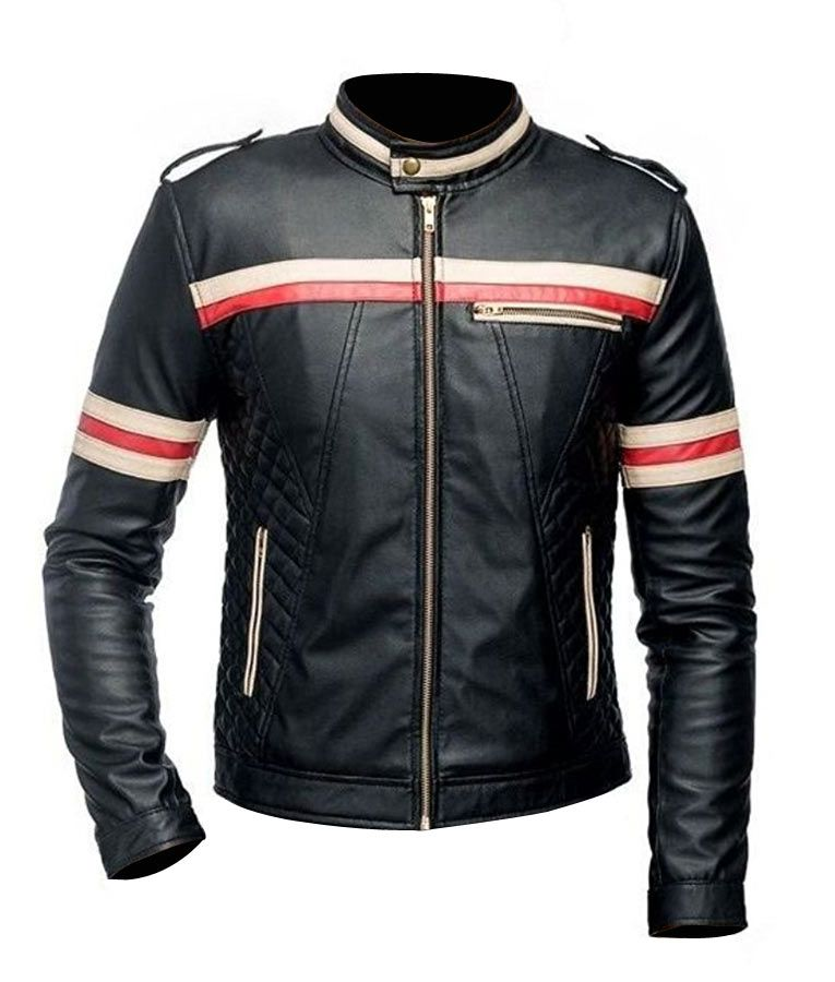 06be6f942 Mens Red And White Striped Black Motorcycle Jacket di 2019 | Men's ...