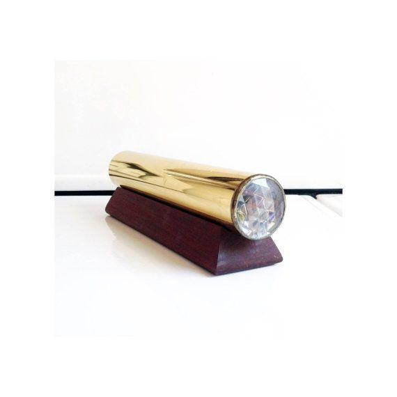 Vintage Brass Cylinder Kaleidoscope / Wood Stand by SergeantSailor
