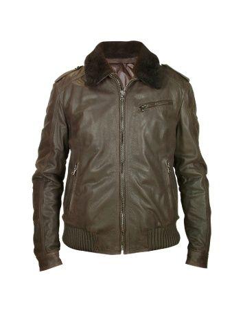 c5d0f878a Mens Dark Brown Shearling Collar Bomber Leather Jacket - Mens Dark ...