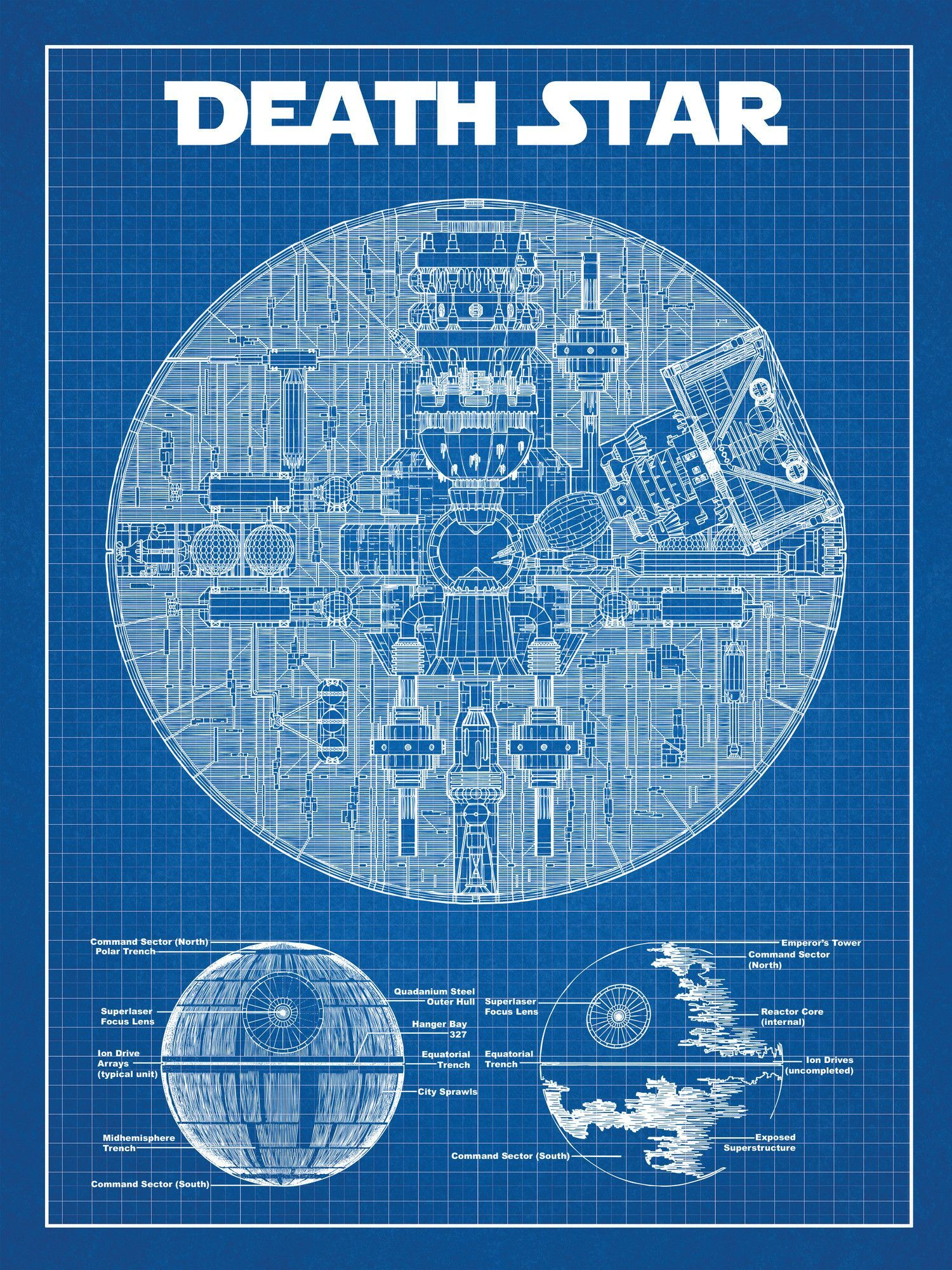 Star wars death star blueprint graphic art poster in blue gridwhite star wars death star blueprint graphic art poster in blue gridwhite ink malvernweather Image collections