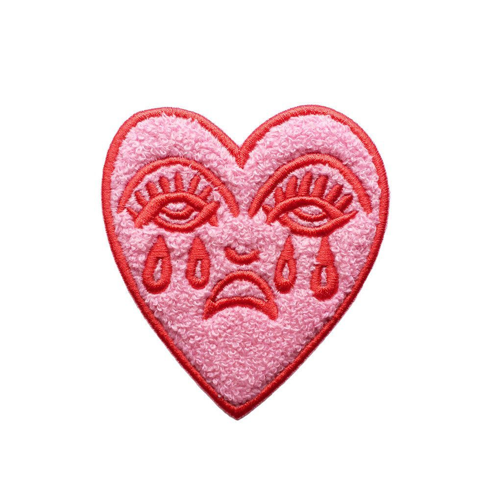 Crying Heart Chenille Patch Embroidered Pink & Red Fluffy