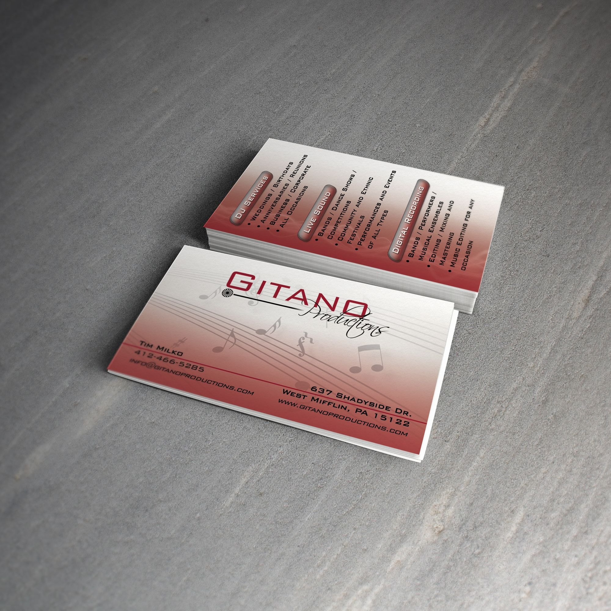 Gitano Productions 16pt dull cover with matte finish