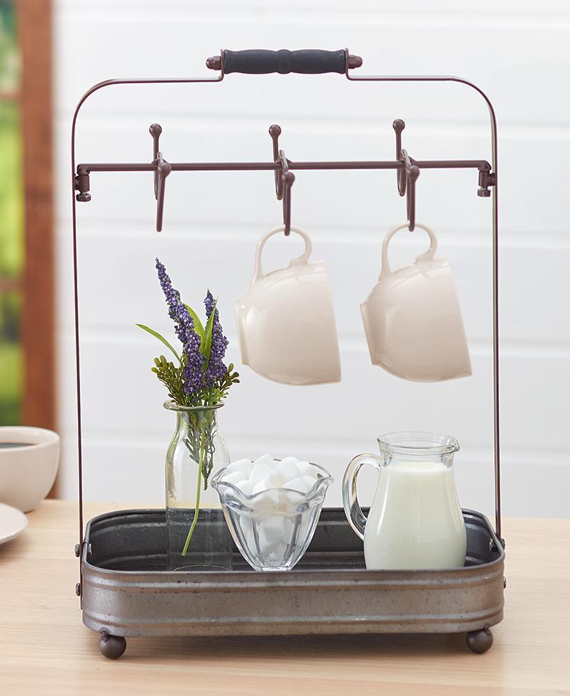 Farmhouse Coffee Mug Rack with Tray in 2020 Rustic mugs