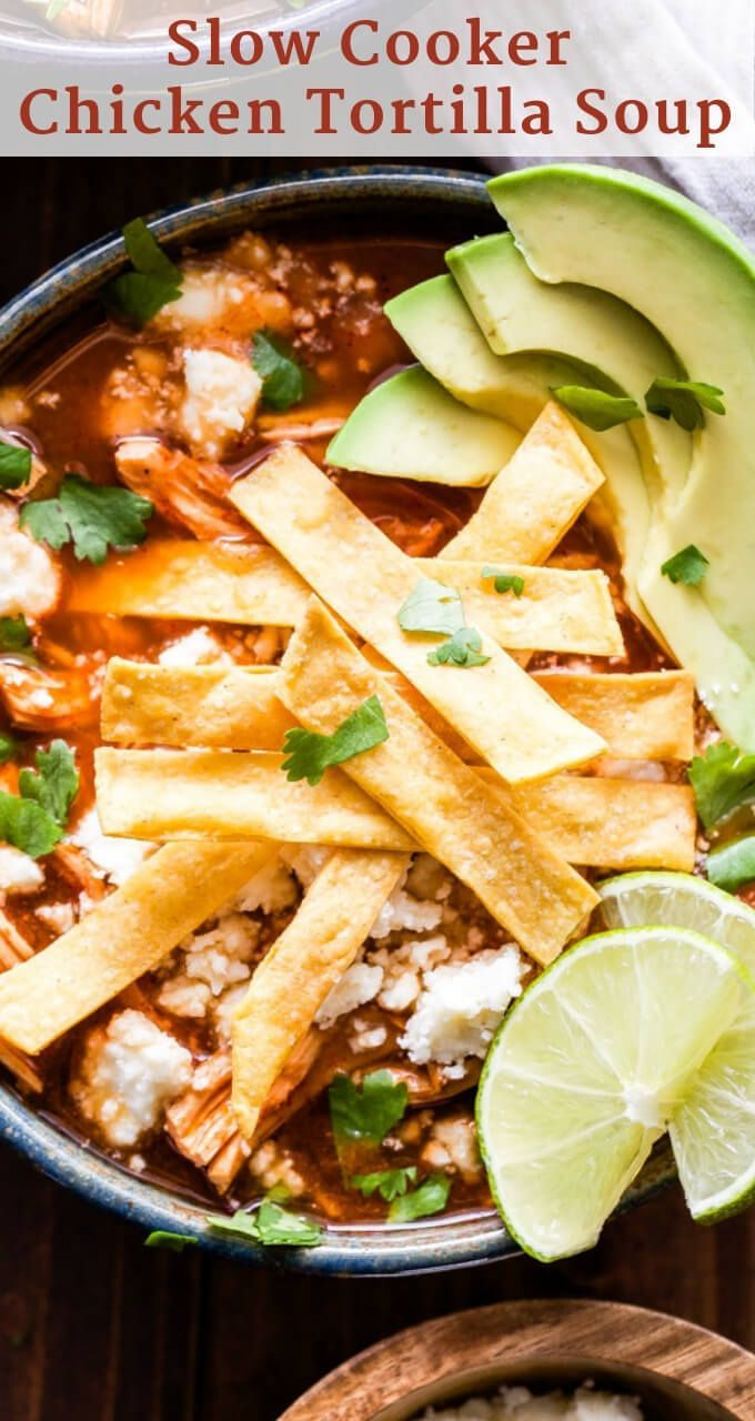 Slow Cooker Chicken Tortilla Soup - Recipe Runner #chickentortillasoup