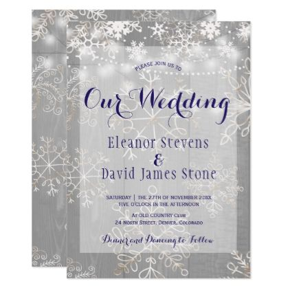 Snowflakes Silver Lights Winter Wonderland Wedding Card