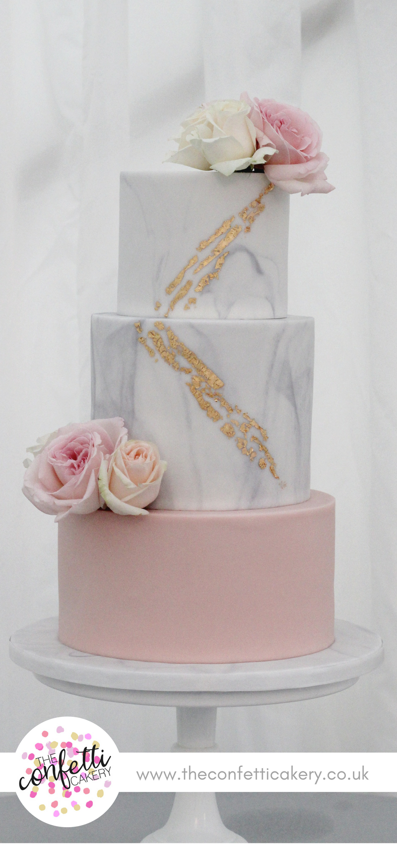 Marble and blush wedding cake with gold leaf and fresh flower ...