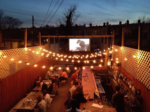 Projector outside!!!  Lights with it.