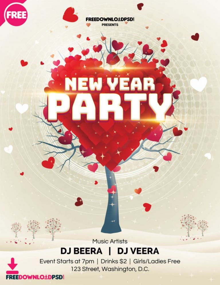 New Year Party Flyer Template Party invite template