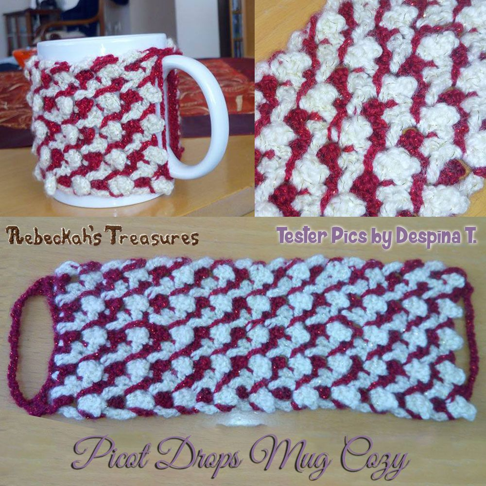 Picot Drops Mug Cozy | Free Crochet Pattern by @beckastreasures ...