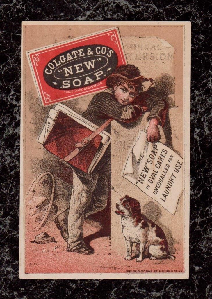 Boy with Dog Puts Up Colgate Co New Soap Posters Victorian