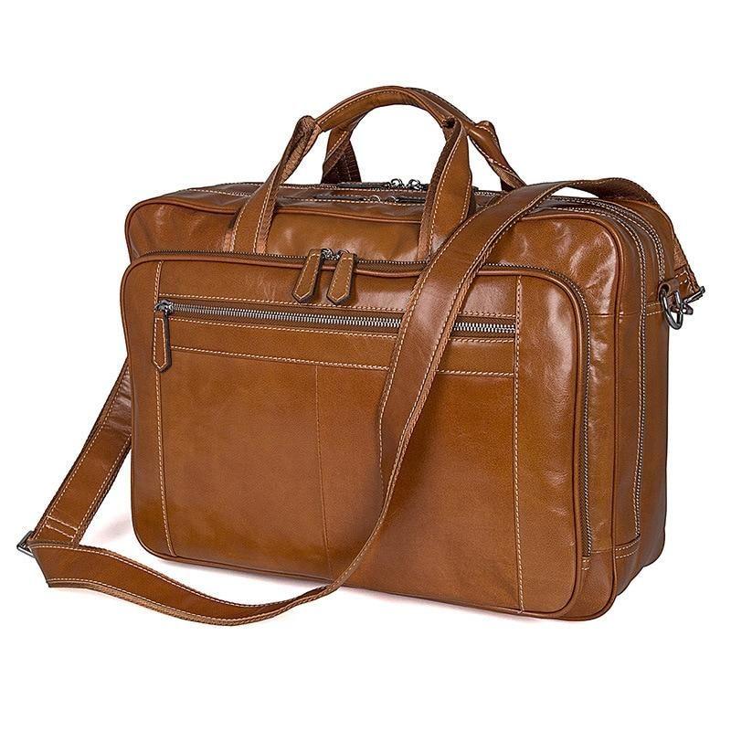 """17/"""" New Men/'s Leather messenger shoulder bag vintage briefcase laptop bags"""