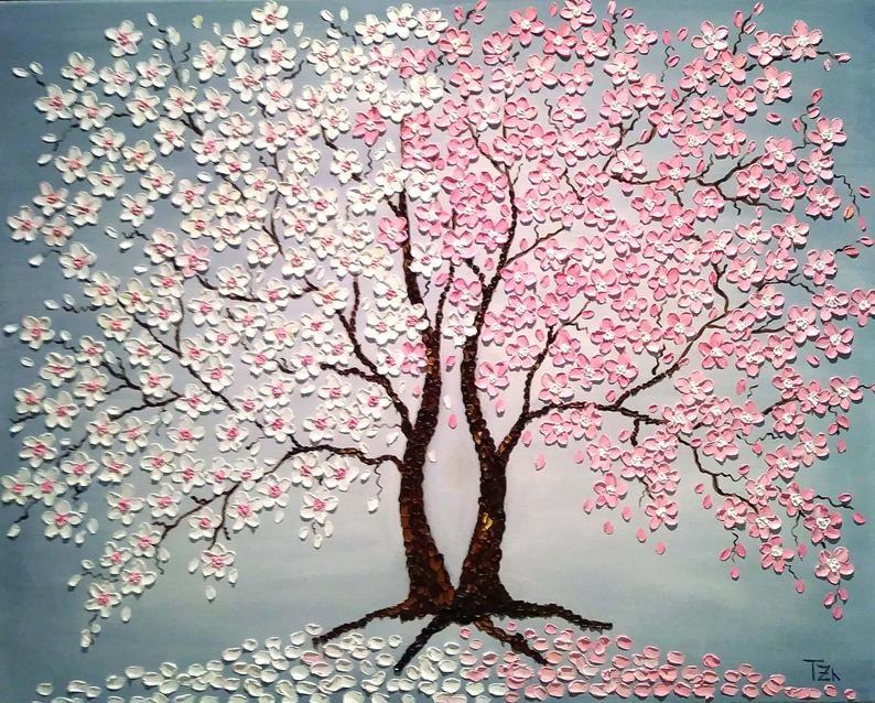 Cherry Blossom Trees Day And Night Original Oil Impasto Etsy Tree Painting Cherry Blossom Painting Blossom Trees