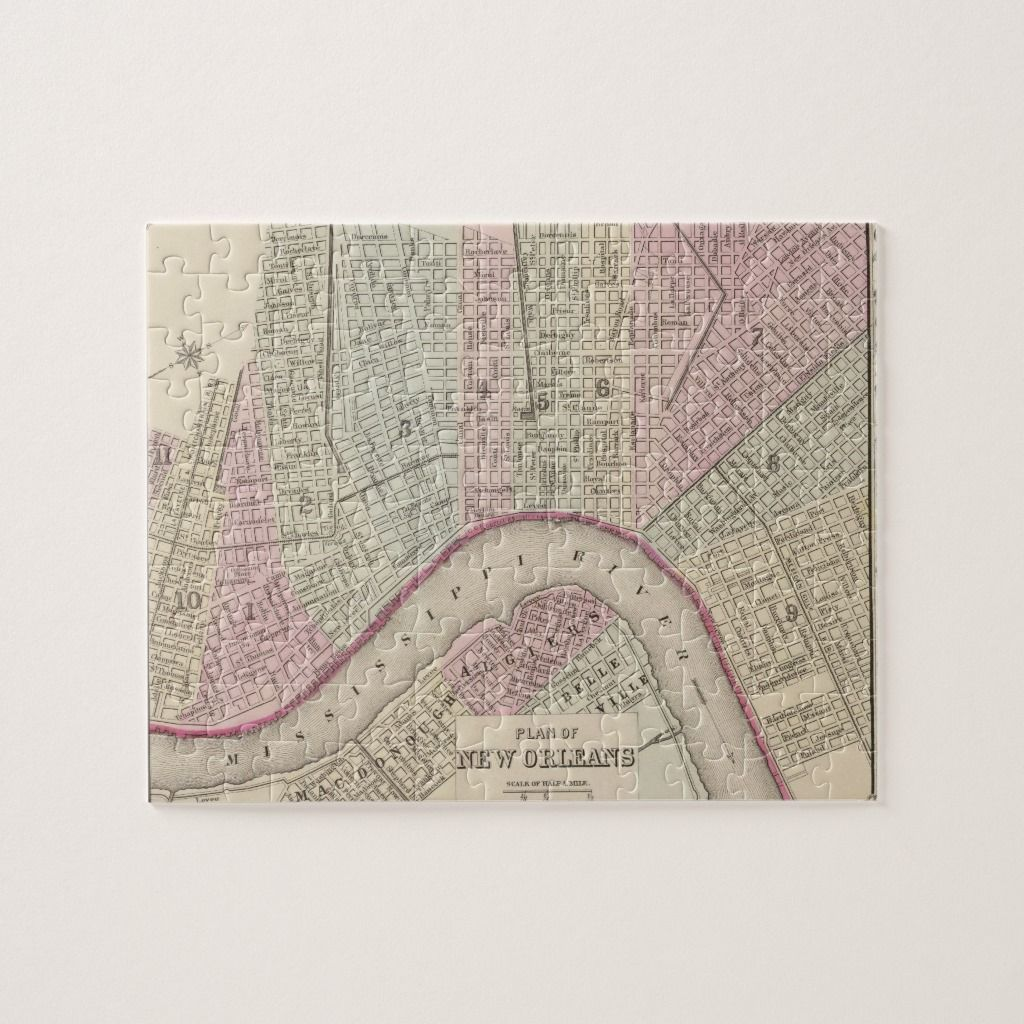Vintage Map Of New Orleans Jigsaw Puzzle