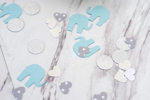 Elephant Baby Shower Confetti, Boy Baby Shower, Boy First Birthday - confeti