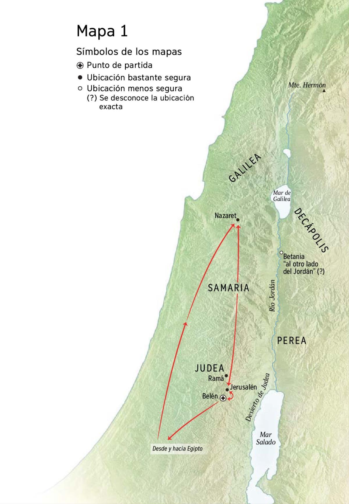 Mapa Con Lugares Relacionados Con La Vida De Jesús Como Belén Nazaret Y Jerusalén Estudios Bíblicos De Jesus Jesus De Nazaret