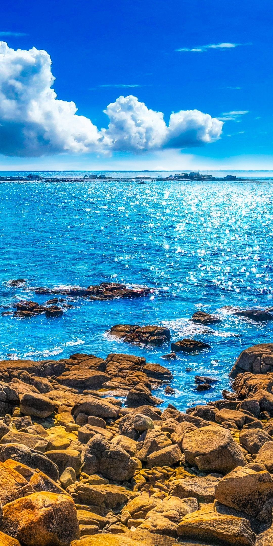 Rocks Coast Sunny Day Blue Sea 1080x2160 Wallpaper 4k
