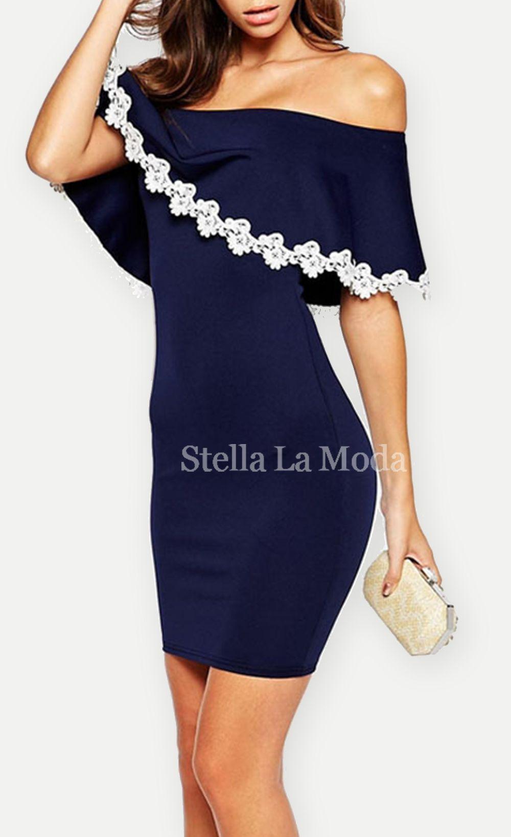 23b30c38452  32.99 Strapless Bardot Bodycon Dress with Lace Trim